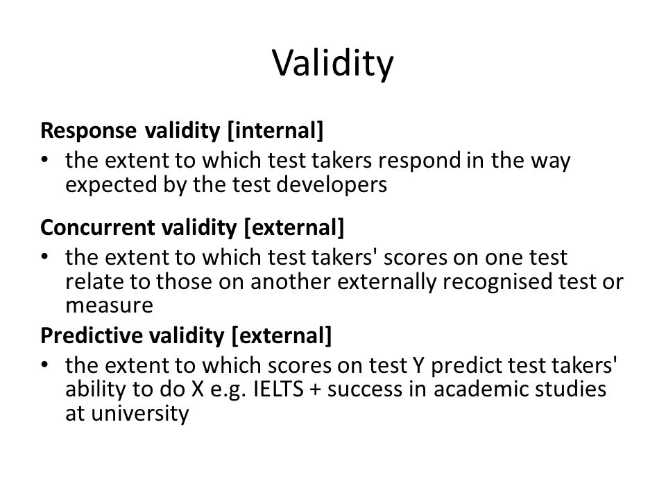 Validity Response validity [internal]